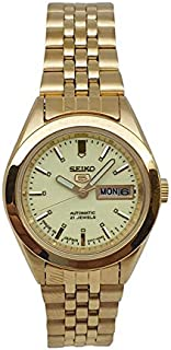Seiko automatic 21 Jewels Calendar golden Stainless steel ladies watch SYMG06J