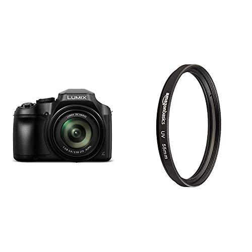 Panasonic Lumix DC-FZ82 Bridgekamera (18 Megapixel, 20 mm Weitwinkel, 60x Opt. Zoom, 4K30p Videoaufname, Hybrid Kontrast AF) schwarz & AmazonBasics UV-Sperrfilter - 55mm