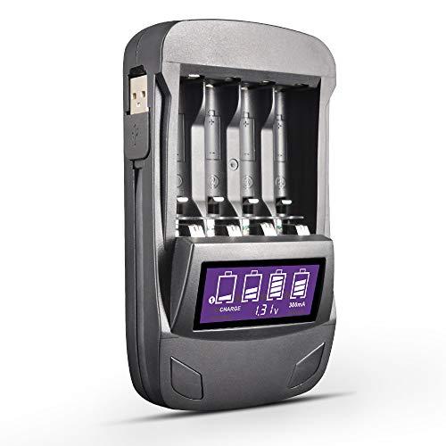 Caricabatteria intelligente USB LCD PALO 4Slots per batterie ricaricabili AA AAA Ni-MH/Ni-CD, con funzioni di test di carica, scarica, aggiornamento, tensione