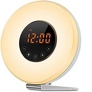 Réveil Lumière,SOLMORE Lampe Matin Lampe de Réveil Radio FM Veilleuse Lampe de Chevet Sunrise Sunset Simulation Snooze RGB...