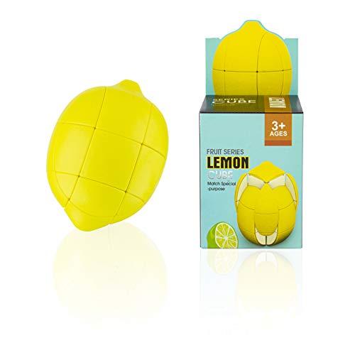 Areskey Lemon Rubik's Cube 3X3 ルービックキューブ レモンくもん パズル スピードキューブ ステッカーなし フルーツパズルギフトセット 知育玩具 子供向け 創意プレゼント ユニーク リアルな シミュレーション果物 フェイクフル