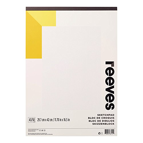 Reeves 8490942 schetsen & tekenblok, 50 vellen tekenpapier, zuurvrij wit papier 150 g/m2 - A3