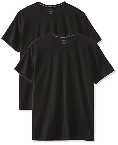 Calvin Klein Herren T-Shirt 2P S/S CREW NECK, Gr. Medium, Schwarz (BLACK 001)
