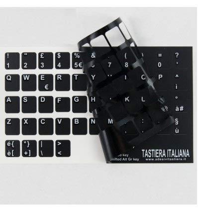 StickersLab - Adesivi lettere tastiera Italiano fondo nero lettere bianche (11,5mm x 12mm)