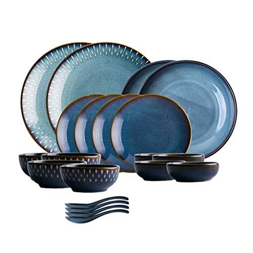 GAXQFEI Cerámica Vajillas, 26 Piezas Azul Estilo Nórdico Porcelana Combinación Set - Cuenco/Plato/Cuchara | Horno de Esmalte Vajilla para Restaurante Caja de Regalo