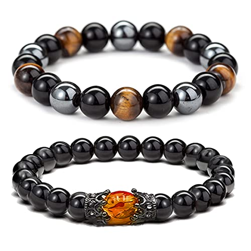 2PCS Hematite Magnetic Therapy Bracelet for Men Women ,Triple Protection Bracelet Hematite Beads+Black Obsidian+Tiger's Eye Stone Bracelets (A-2PCS)