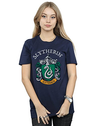 Harry Potter Damen Slytherin Crest Boyfriend Fit T-Shirt Navy Blau Medium