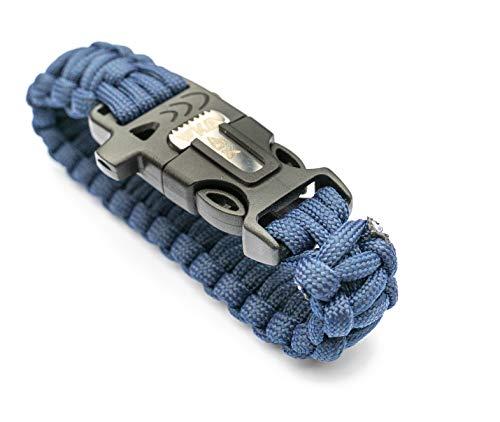 WIKA Survival Armband, Paracord, Feuerstein, Messer, Signalpfeife (Dunkelblau)
