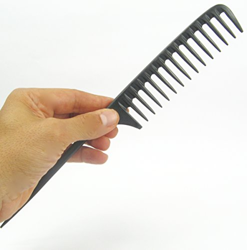 Tearsheet Carbon Wide Tooth Rake Comb with Tail - Beach waves, Beach waver, Texture hairstyle, comb outs, detangle wet hair, no static, no snags no breakage