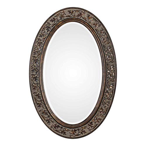 Spinner Floro Aged Bronze Oval Mirror | Oval Wall Mirror in Aged -