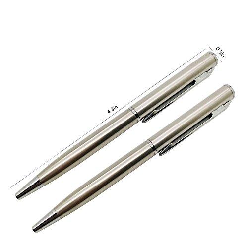 Mallalah - Mini bolígrafo de metal para bolsillo, cartera o pasaporte (2 unidades)
