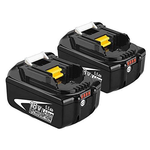 Moticett 2X BL1860B 18V 5.5Ah Batterie de remplacement pour Makita BL1860B BL1850 BL1860 BL1840 BL1845 BL1835 BL1830 BL1815 LXT-400 avec indicateur