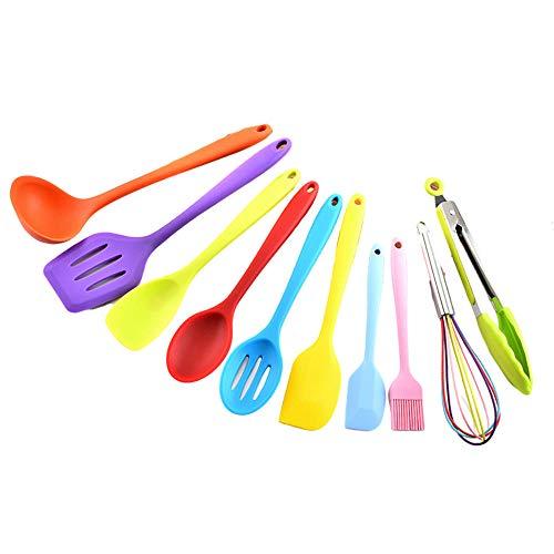 Utensilios cocina profesional,utensilios de cocina de silicona Juego de olla y espátula antiadherente de 10 piezas-estilo 1