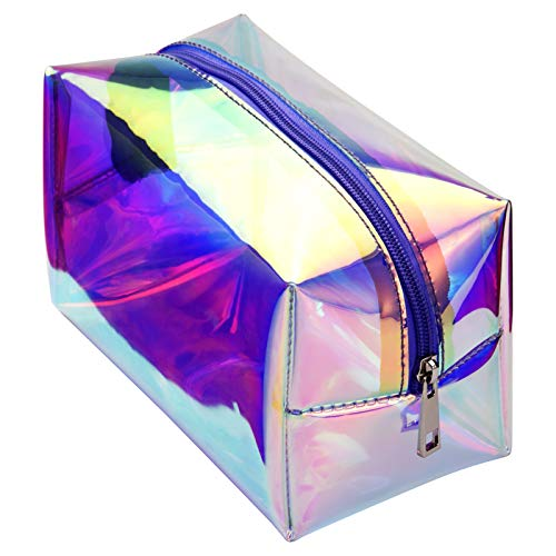 Holographic Makeup Bag, Cambond Clear Cosmetic Bag Large Iridescent Makeup Pouch Toiletry Organizer Cute Pencil Case Stationery Box, Gifts for College Girls Teens Women (Holographic Purple)