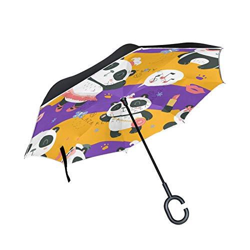 Double Layer Inverted Umbrella Winddichte Regensonnen-Regenschirme mit C-förmigem Griff - Panda Make Up