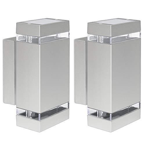 Juego de 2 lámparas LED de pared Up & Down – Lámpara de pared exterior IP44 aluminio gris con 2 bombillas LED GU10 5 W 230 V blanco cálido 3000 K