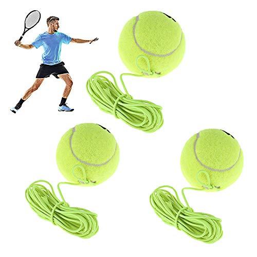 Gfdg Entrenador de Tenis,3 Piezas Pelota de Entrenamiento de Tenis, Pelota Elasticidad Entrenamiento Tenis, Ideal para Practicar Tenis en Interiores y al Aire Libre con un Rebote Duradero, Ligero