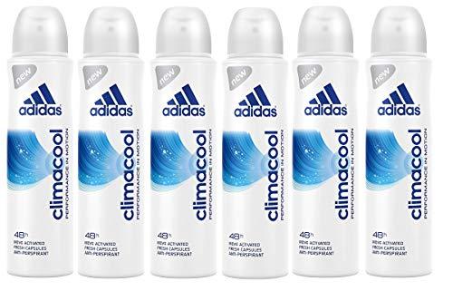 adidas climacool Anti-Perspirant Deo Body Spray für Damen - effektive Feuchtigkeits- und Geruchskontrolle bis zu 48h, 6er Pack (6 x 150 ml)