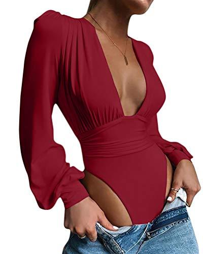 Onsoyours Body Vestir para Mujer V Profunda Mono Bodysuit Mangas Largas Sexy Elegante Fiesta Body Leotardo Body Stretch Bodycon Blusa A Vino Rojo L