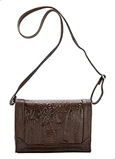 Squadra Leather Pharaonic-Pattern Flap Bag for Women - Brown