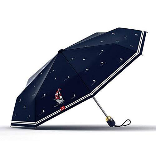 Olycat Automatischer Regenschirm für Damen, mit Sonnenschutz, Segelboot-Stil, drei faltbarer Regenschirm für Regen, Frauen, Aluminium, winddicht, 8 K, Marineblau, Paraguas