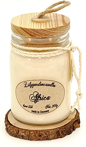 Lilygardencandles Duftkerze Africa Stopper Jar New, 55+ St&en Brennzeit, 100prozent Sojawachs, angenehm herb