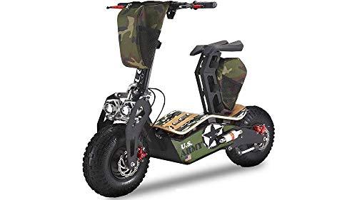 monopattino elettrico 1000 watt E-Scooter Monopattino Elettrico Velocifero M.A.D 1900W 48V Batterie a Litio Lem Motor Targabile (Army)