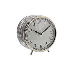 Deco 79 43505 Stainless Steel Round Table Clock with Shell Inlay, 6 x 5, Silver/White/Black