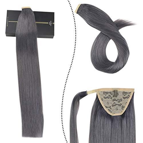 [5% de Réduction]Ugeat 35 cm Clip Bresilienne Ponytail Human Hair Pince Queu de Cheval Postiche Extension de Cheveux Humains Lisse Droit (#Silver, 60GR)
