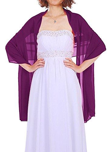 Dressystar Chiffon Stola Schal für Kleider in verschiedenen Farben Grape 160cm*50cm