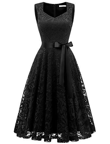 Gardenwed Damen Elegant Spitzenkleid Strech Herzform Abendkleid Cocktailkleider Partykleider Black M
