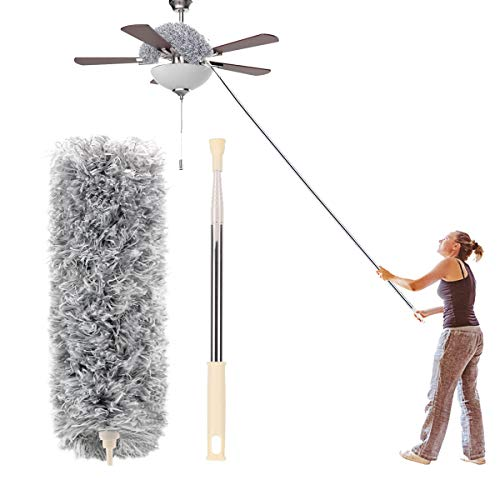 Microfiber Duster with Extension Pole(Stainless Steel) 30 to 100'', with Bendable Head, Extendable Long Duster for Cleaning Ceiling Fan, High Ceiling, Keyboard, Furniture Cars