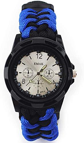 Outdoor Adventure Reloj multifunción Seven Core Umbrella Rope Militar Brújula silbato, termómetro impermeable, reloj deportivo regalo para los amantes del aire libre rojizo negro azul negro