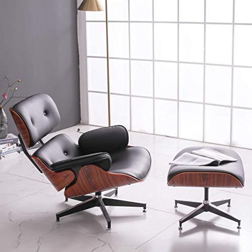 ZXL Mid Century Recliner Lounge Chair Mit Fußhocker Osmanische Schaukelstühle Für Wohnzimmer Nussbaum Holz Leder Heavy Duty Base Support