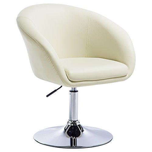 WOLTU BH24cm-1 Barsessel 1er Set, stufenlose Höhenverstellung, verchromter Stahl, Kunstleder, gut gepolsterte Sitzfläche mit Armlehne und Rücklehne, Creme