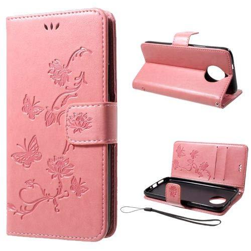 jbTec Handy Hülle Hülle Schmetterling passend für Motorola Moto G5s Plus - Handyhülle Schutzhülle Phone Cover Tasche Handytasche Zubehör Flip, Farbe:Rosa