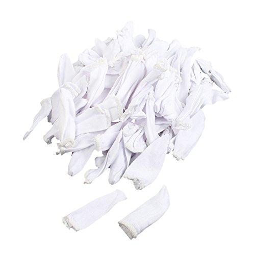 6.5cm Length White Cotton Blends Finger Cots Cover Protective 200 Pcs
