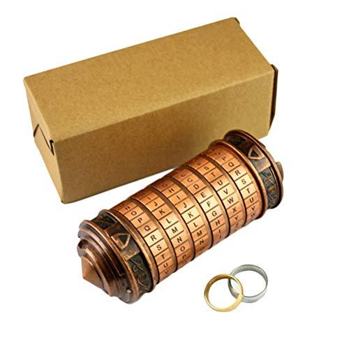 Código Da Vinci Cryptex Lock Cilindro Caja de cerradura Mini Cryptex Retro Alphabet Lock Día de San Valentín Novia Novio Cerraduras de seguridad Cumpleaños Interesante Creativo Regalo romántico
