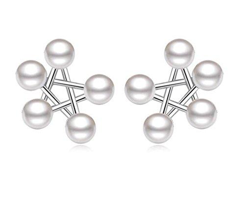 Earrings Women's Girls 925 Sterling Silver Pentagram Pearl Hypoallergenic Earrings