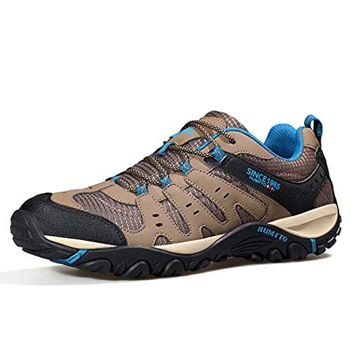 huasa Zapatillas Trekking Hombre Zapatillas,Botas de Montaña Antideslizantes Al Aire Libre Zapatos de Deporte,Senderismo Ligeras Antideslizantes,37-Brown