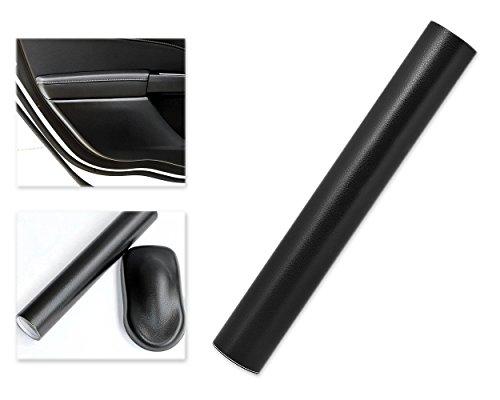 DSstyles 100 x 30 cm Grano fino Textura de cuero negro Envoltura de vinilo Etiqueta del coche Rollo de película adhesiva Autoadhesiva Piel - Negro I