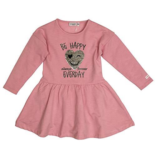 Salt & Pepper Mädchen Daydream Be Happy Wendepailletten Kleid, Rosa (Dusty Pink Melange 824), 128 (Herstellergröße: 128/134)