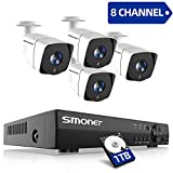 SMONET Security Camera System,8-Channel 5-in-1 2.0MP Home Security System(1TB Hard Drive),4pcs Outdoor/Indoor Security Cameras,P2P, Easy Remote View,Free APP,Super Night Vision