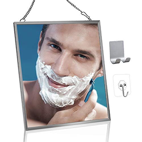 Fogless Shower Mirror for Shaving MGLIMZ AntiFog Free Bathroom Shower Mirror with Metal Chain Razor Holder Adhesive Hook