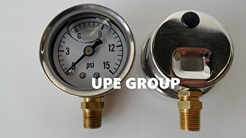 """NEW STAINLESS STEEL LIQUID FILLED PRESSURE GAUGE WOG WATER OIL GAS 0 to 15 PSI LOWER MOUNT 0-15 1/8"""" NPT 1.5"""" FACE DIAL FOR COMPRESSOR HYDRAULIC AIR TANK PRESSURE WASHER"""