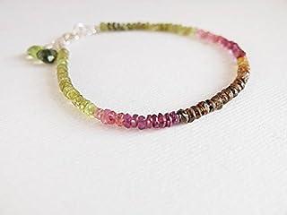 Pulsera de turmalina de sandía, joyería de turmalina de sandía, rosa, verde multicolor, joyería de piedras preciosas, apil...