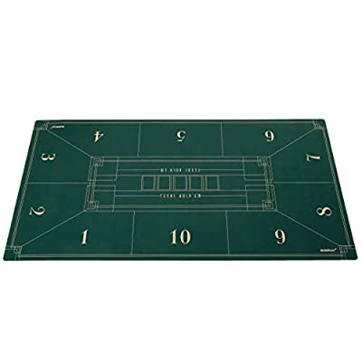 SLOWPLAY 70 x 35 Inch Texas Hold'em Poker Mat | Portable Poker Table Top with Art Deco Layout Print, Hemmed Edges,Green Smooth Surface, and Carrying Tube for Card Games Everywhere