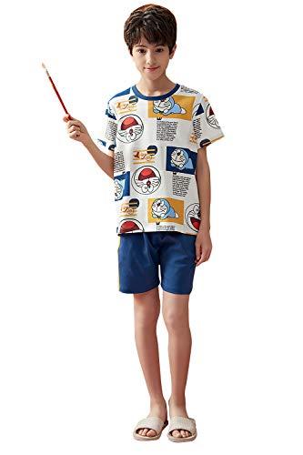 FyoFya Pijama para Niños Niñas, Algodón Camisón Pijamas Dos Piezas Ropa de Dormir para Niños Camiseta con Estampado Animados y Pantalones lencería Neglige Camisones (Doraemon, 140)