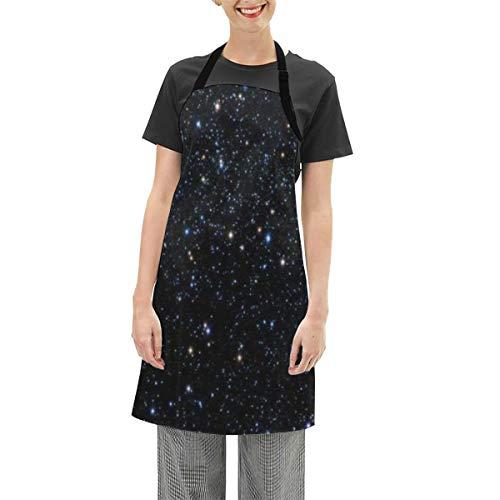 DISLONLY Delantales Estrellas Vistas a través del telescopio Impermeables Ajustables del Cocinero Cocina Delantal de Cocina para Hornear Jardinería Restaurante Barbacoa