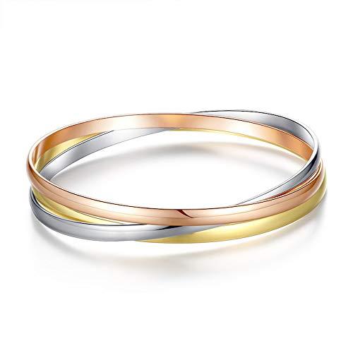 Kim Johanson Damen Armreif *Olympia* aus Edelstahl mit 3 geschlossenen Ringen Roségold/Gold/Silber Armband inkl. Schmuckbeutel